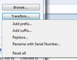 Transform options
