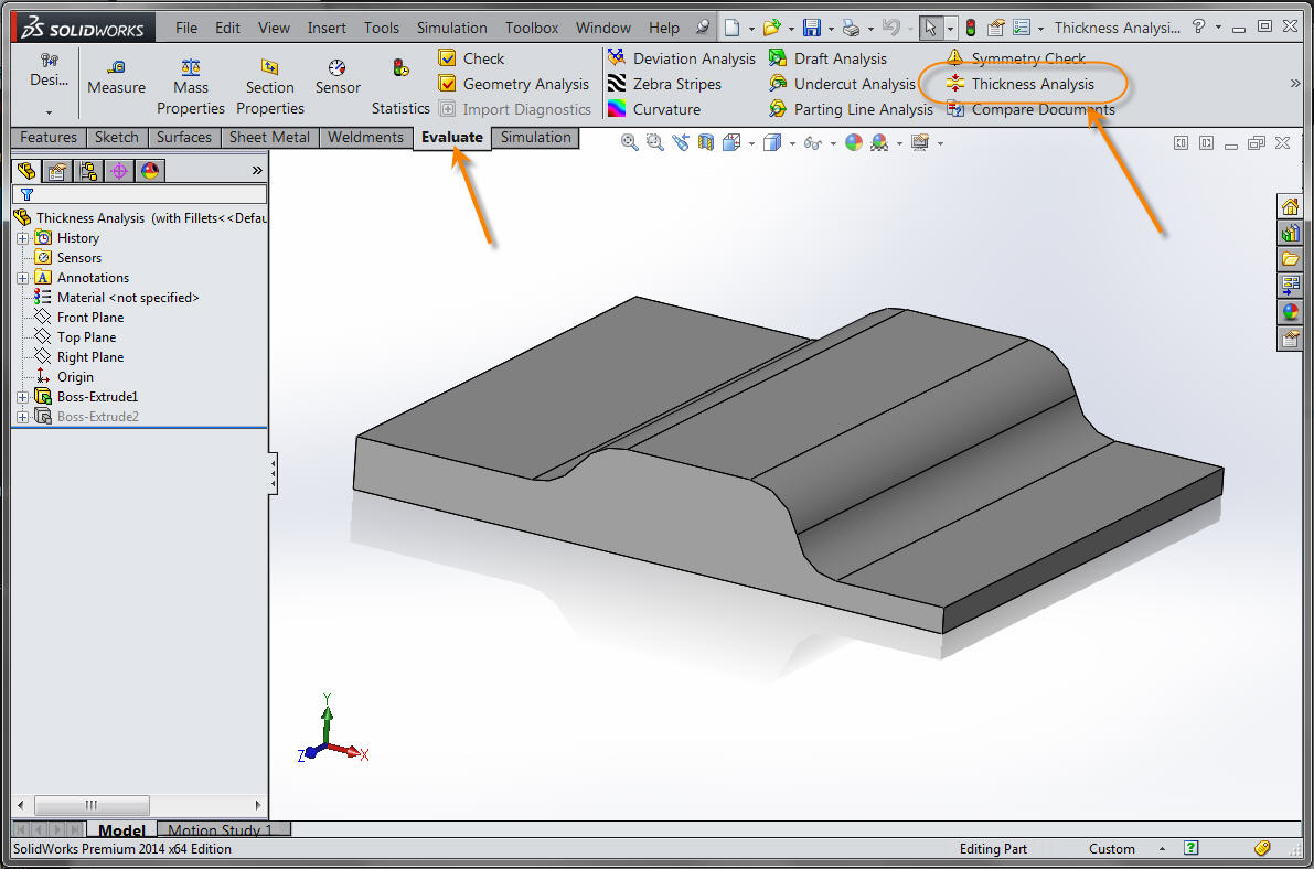 Accessing the Thickness Analysis tool
