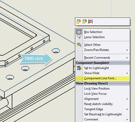 how to change the thickness of line in inventor drawing