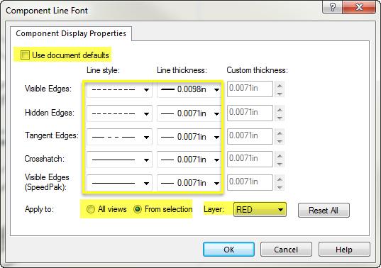 Component Line Font Settings