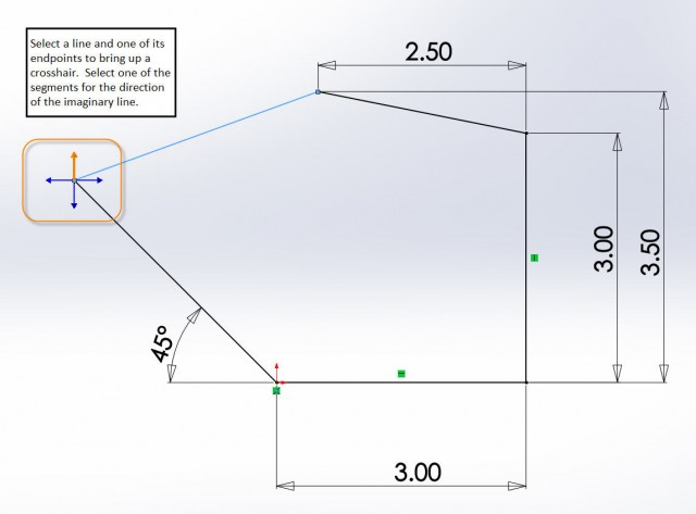 SOLIDWORKS Angle Dimension Crosshair