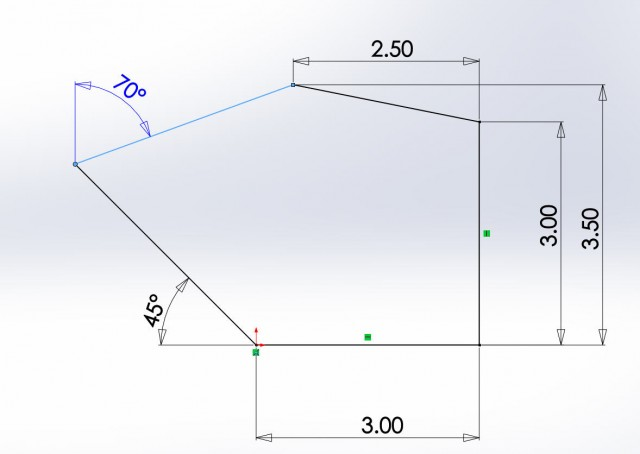 Angle Dimension from Imaginary Line