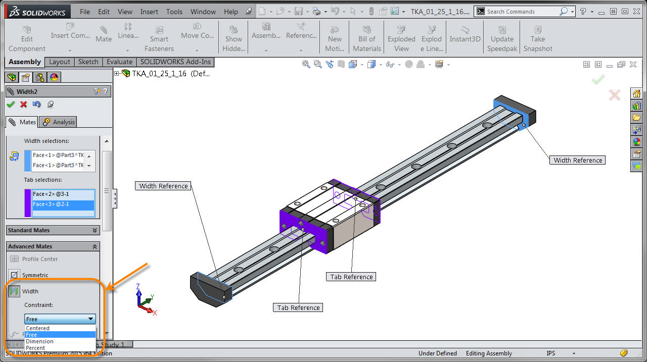 Solidworks 2015 Constraints In The Width Mate