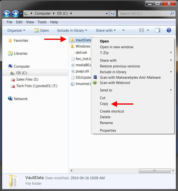 Copy the vault root folder