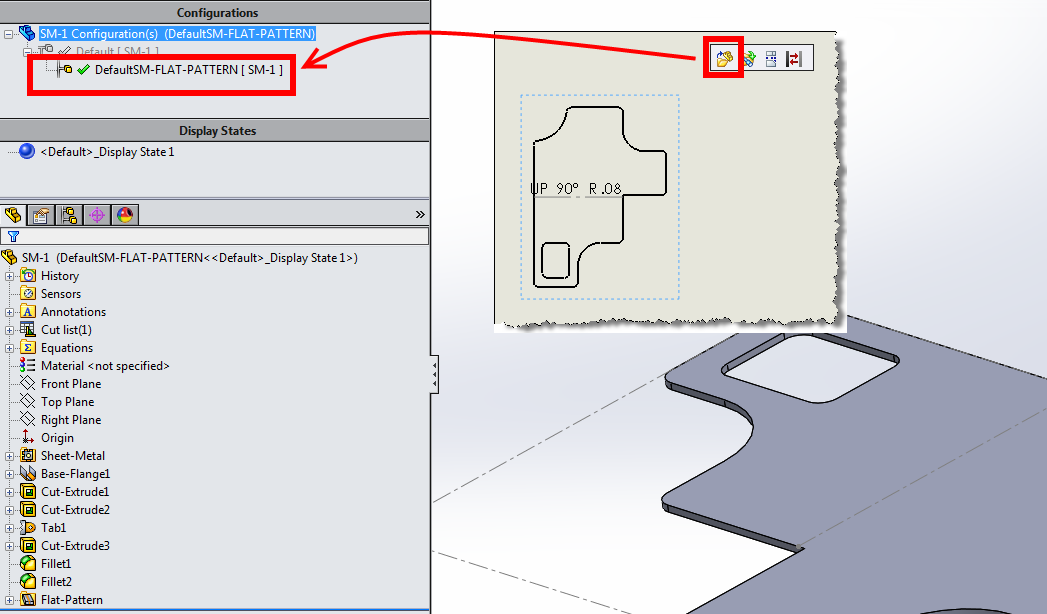 Why Would Solidworks Flat Pattern Drawing View Display The