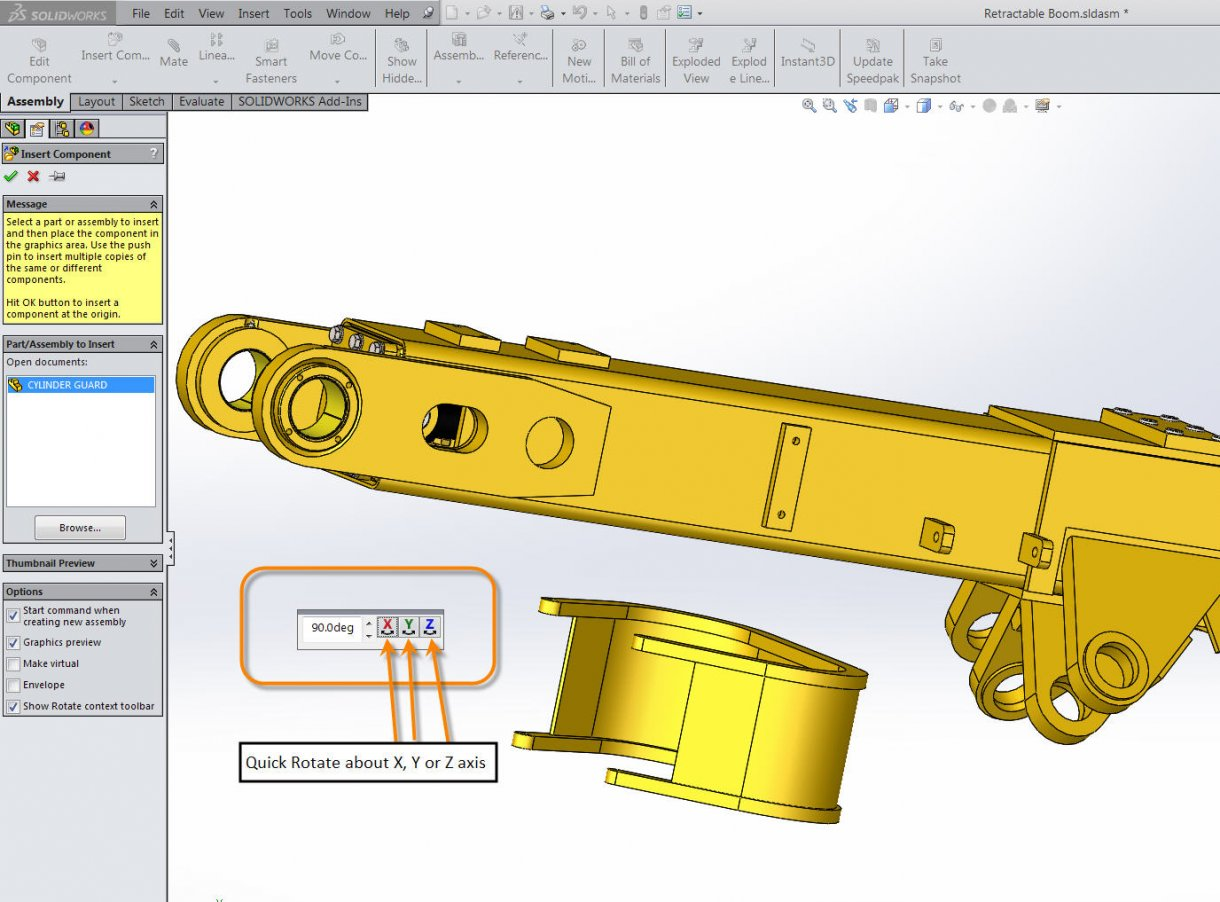 Rotating Inserted Components in SOLIDWORKS