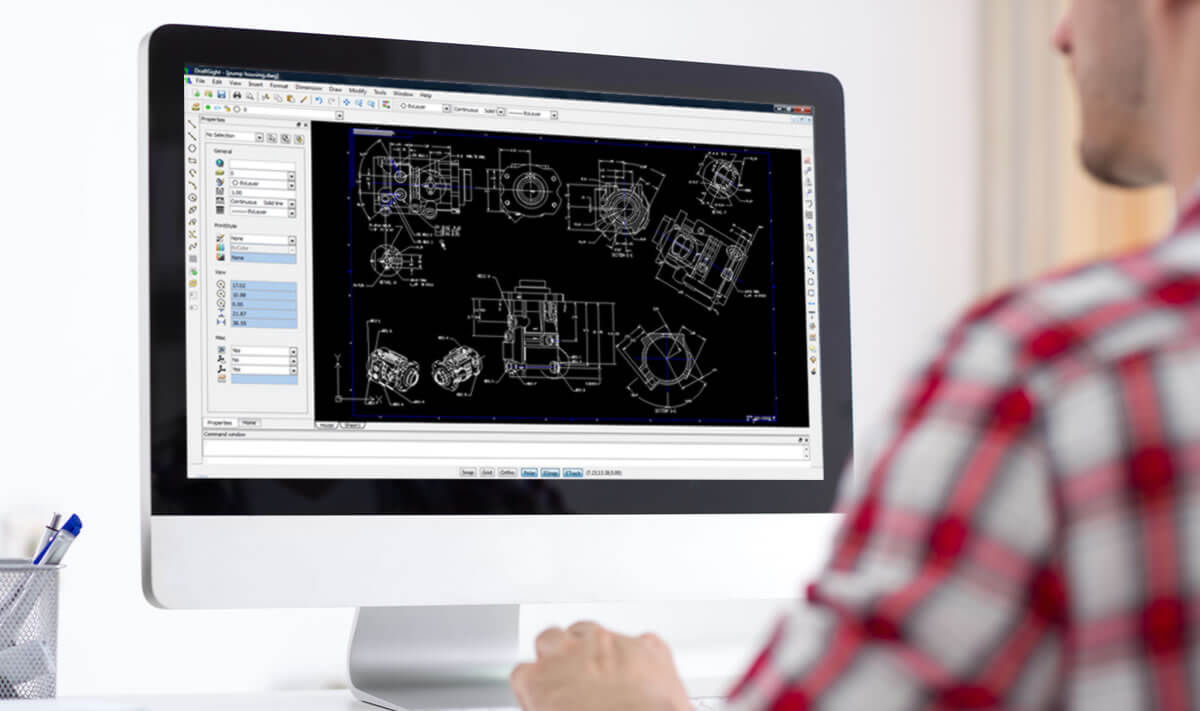 An Engineer using DraftSight Professional to edit a DWG