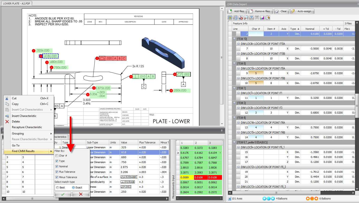 CMM Data Import in SOLIDWORKS Inspection
