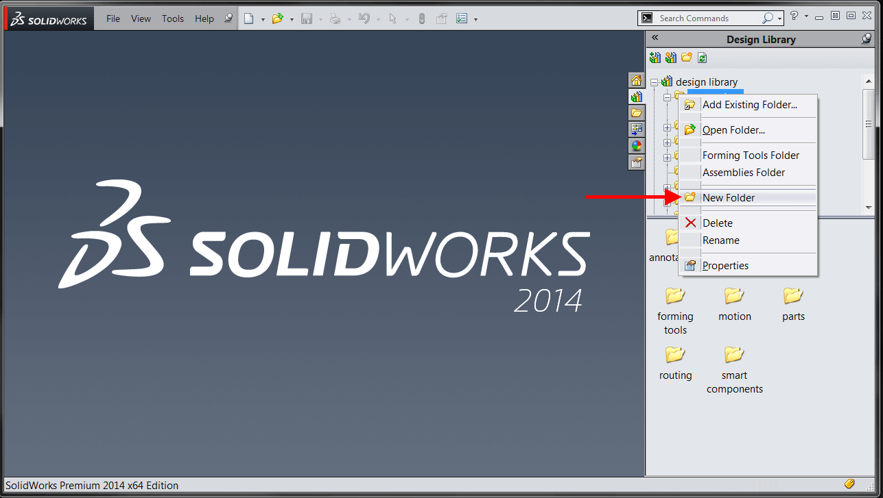 solidowrks 2017 how to make folder