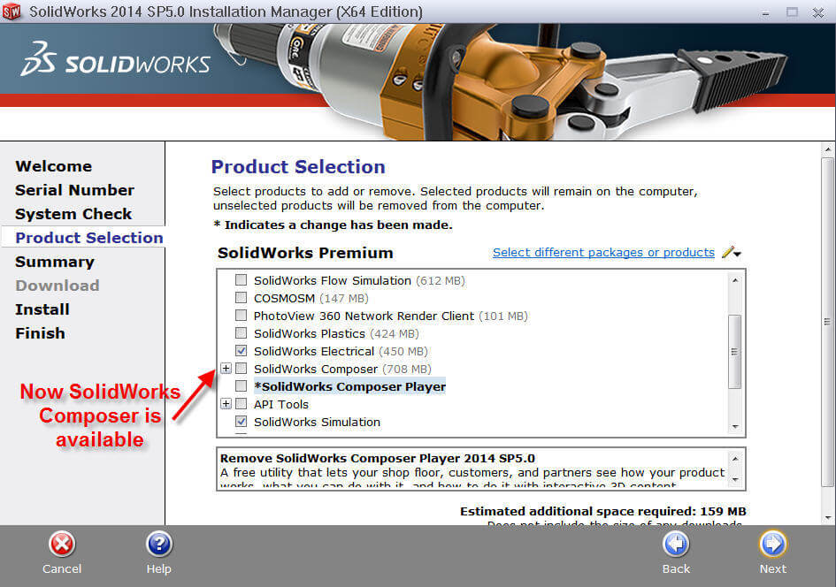 SolidWorks Composer option is now available