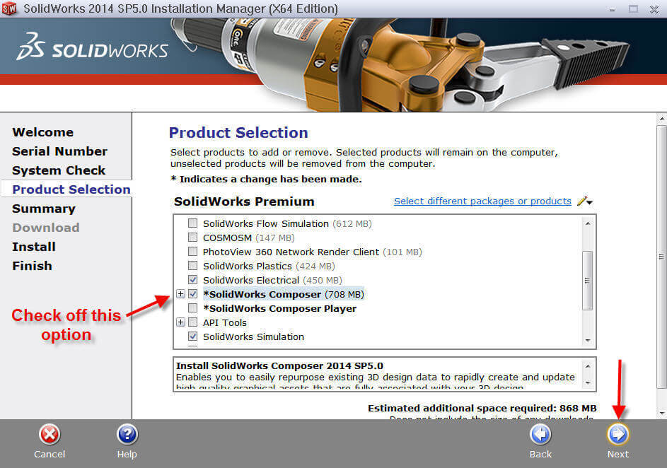 Select the SolidWorks Composer Option