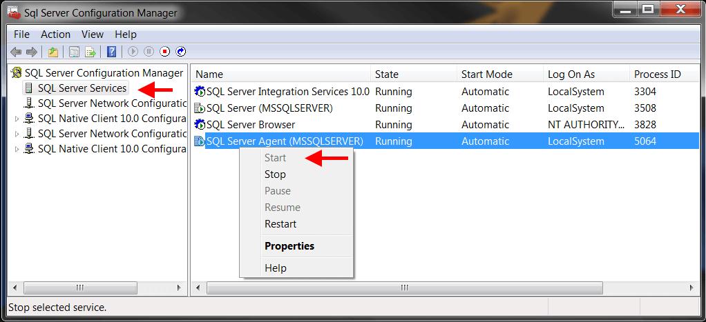 Start SQL Server Agent