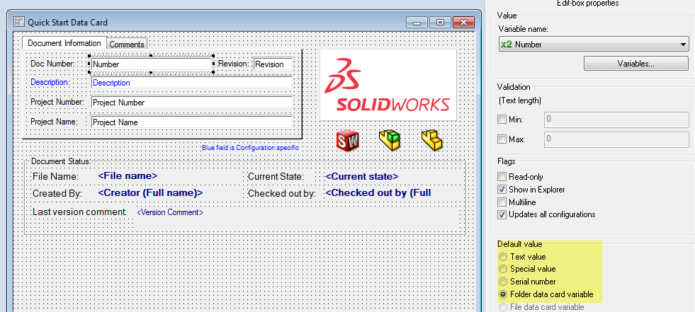 Moving SOLIDWORKS PDM files Default Values