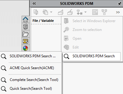Search from the SOLIDWORKS PDM Task Pane