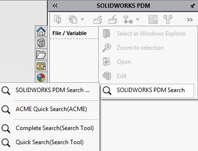 Default SOLIDWORKS PDM Search