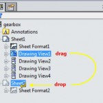 Drag and drop drawing view to a different sheet
