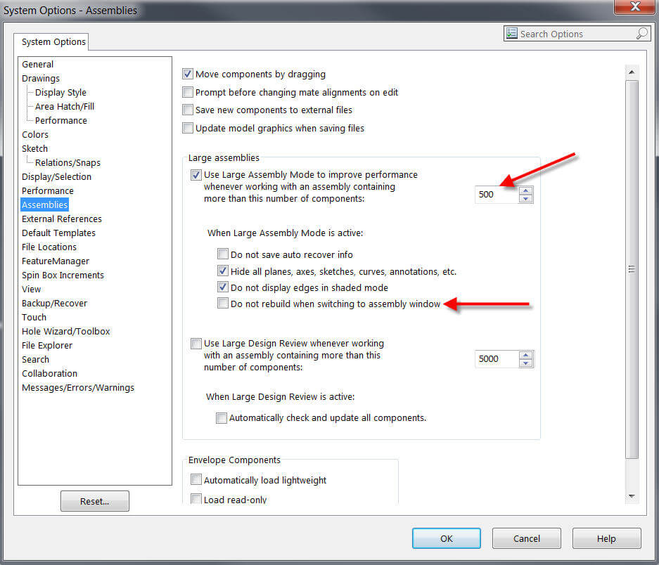 SOLIDWORKS System Options: Assemblies