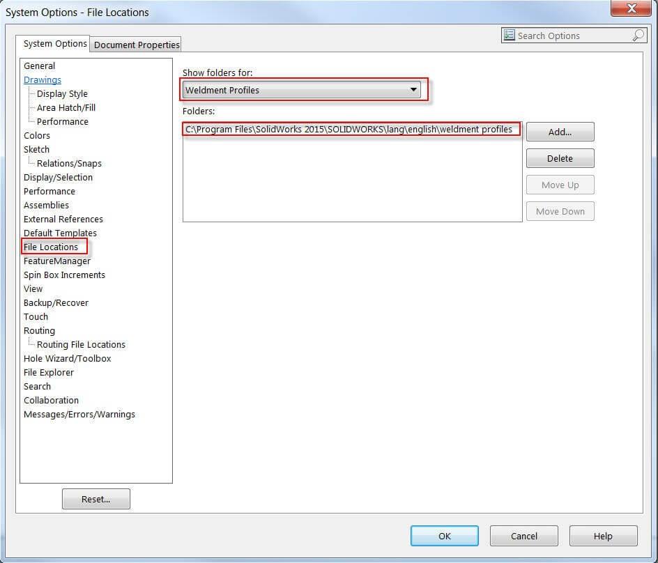 Weldment Profile folder location