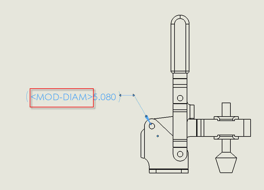mod diam displayed instead of a diameter symbolmod diam text displayed