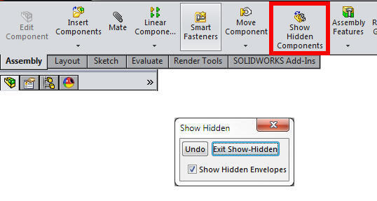 Show hidden assembly components