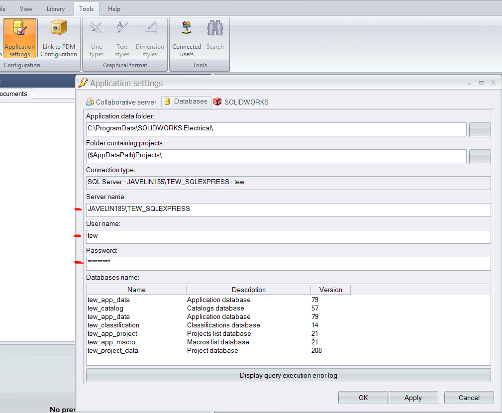 Application Setting - Databases