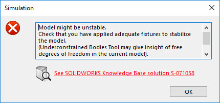 SOLIDWORKS Simulation Model Unstable