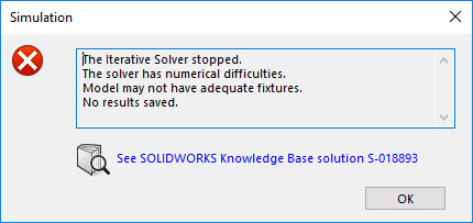 SOLIDWORKS Simulation Iterative Solver Stopped