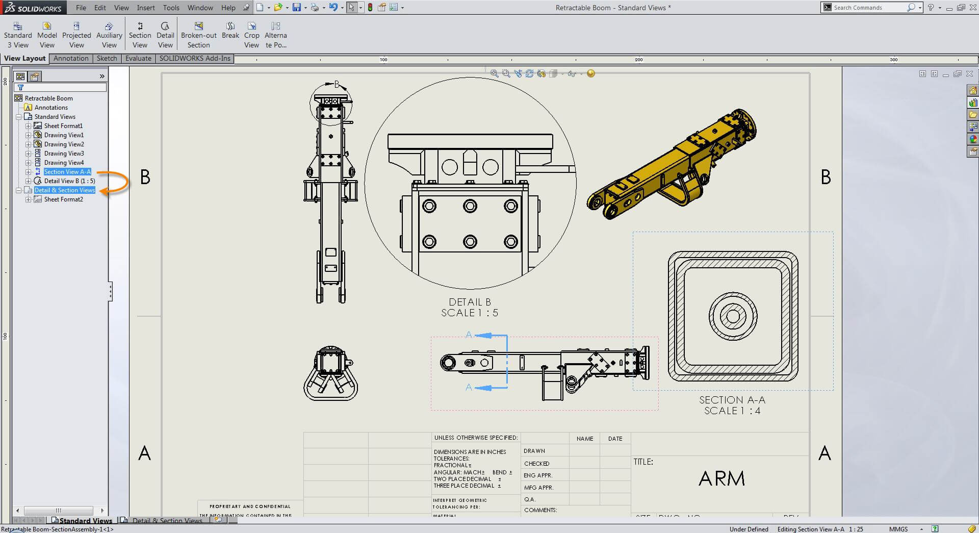 Find Parent View Of A Solidworks Section Or Detail View