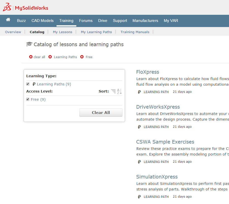 MySolidWorks SOLIDWORKS Xpress Products Learning Paths