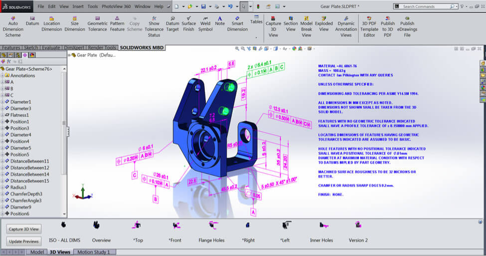 3D Drawings created with SOLIDWORKS MBD