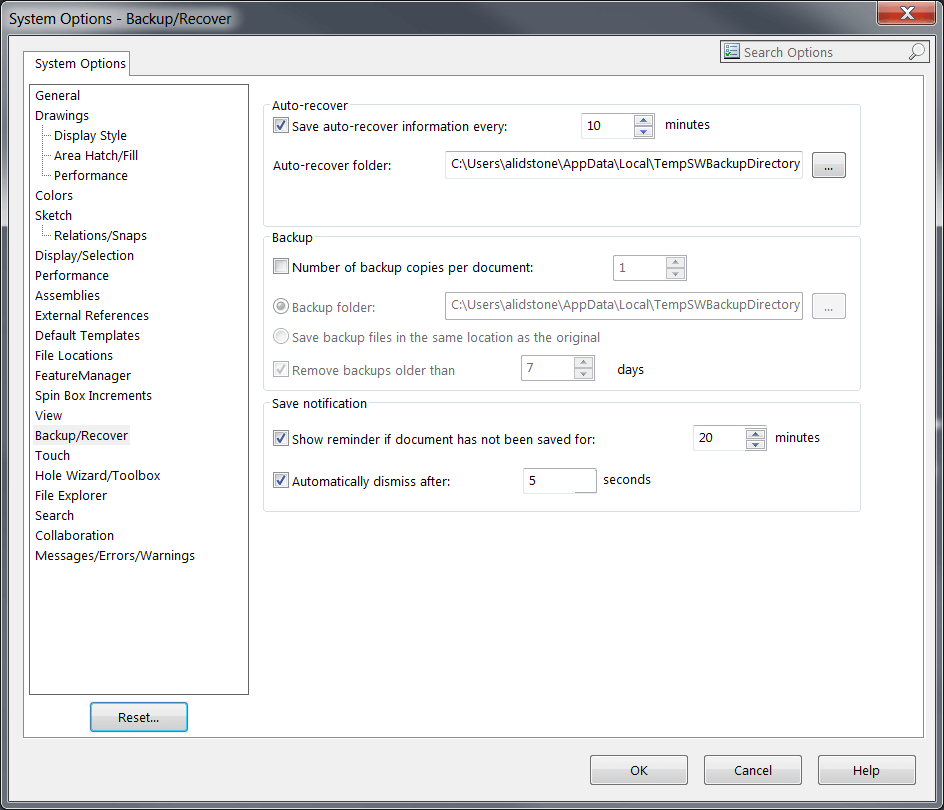 SOLIDWORKS System Backup/Recover Options