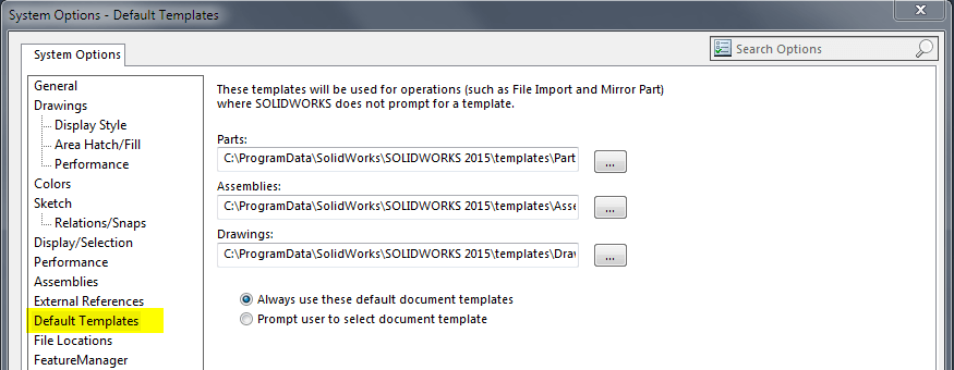 SOLIDWORKS Default Template Location & Settings