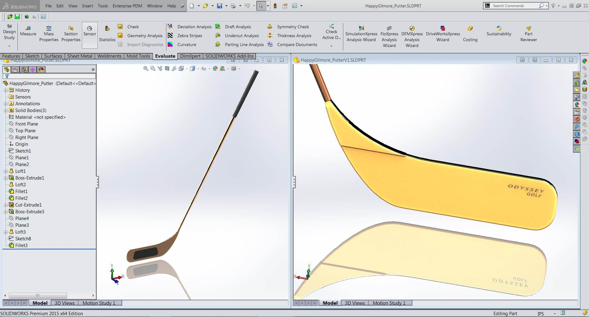 Hockey Stick Putter Modelled in SOLIDWORKS