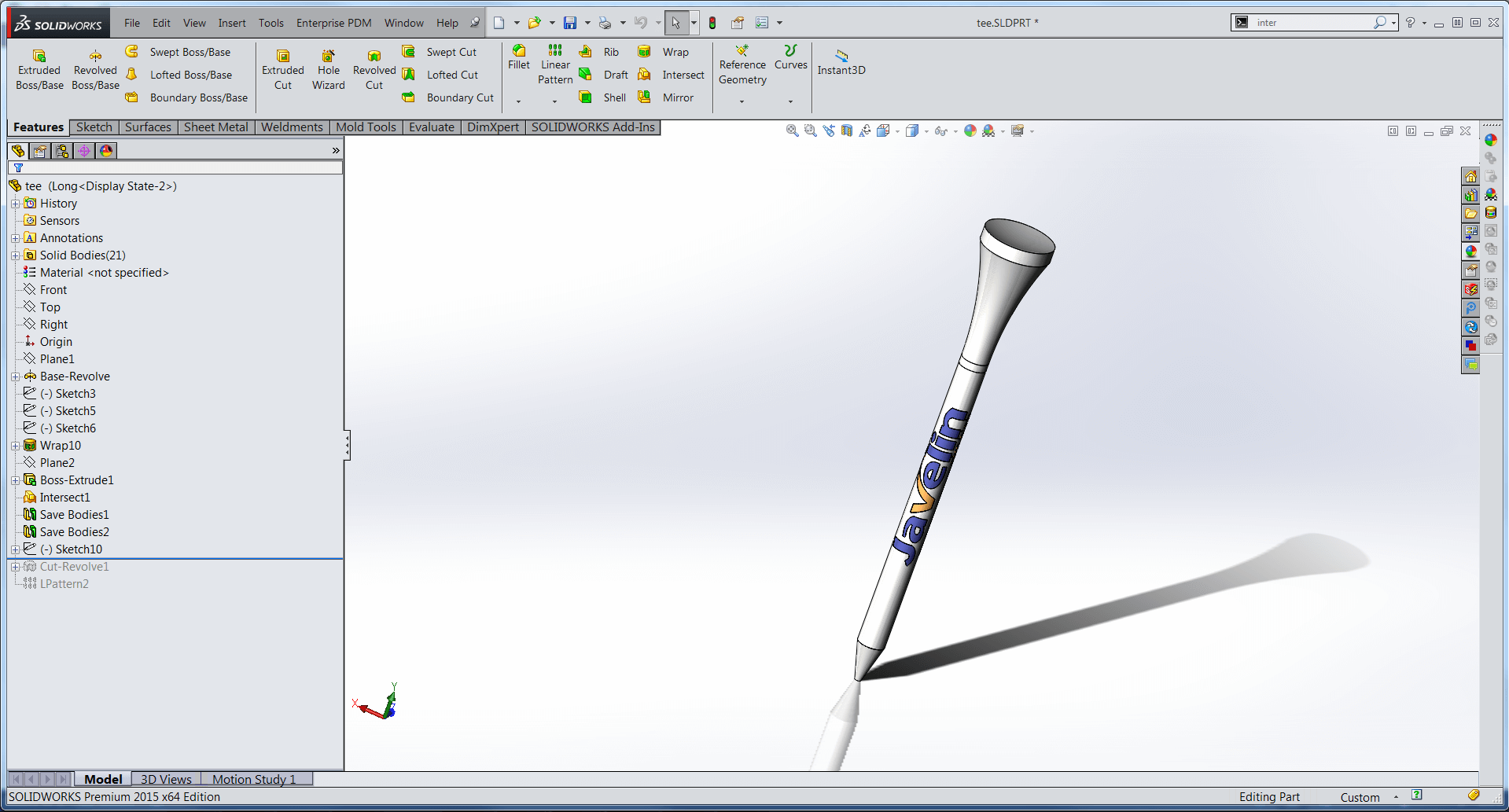 Golf Tee designed with SOLIDWORKS