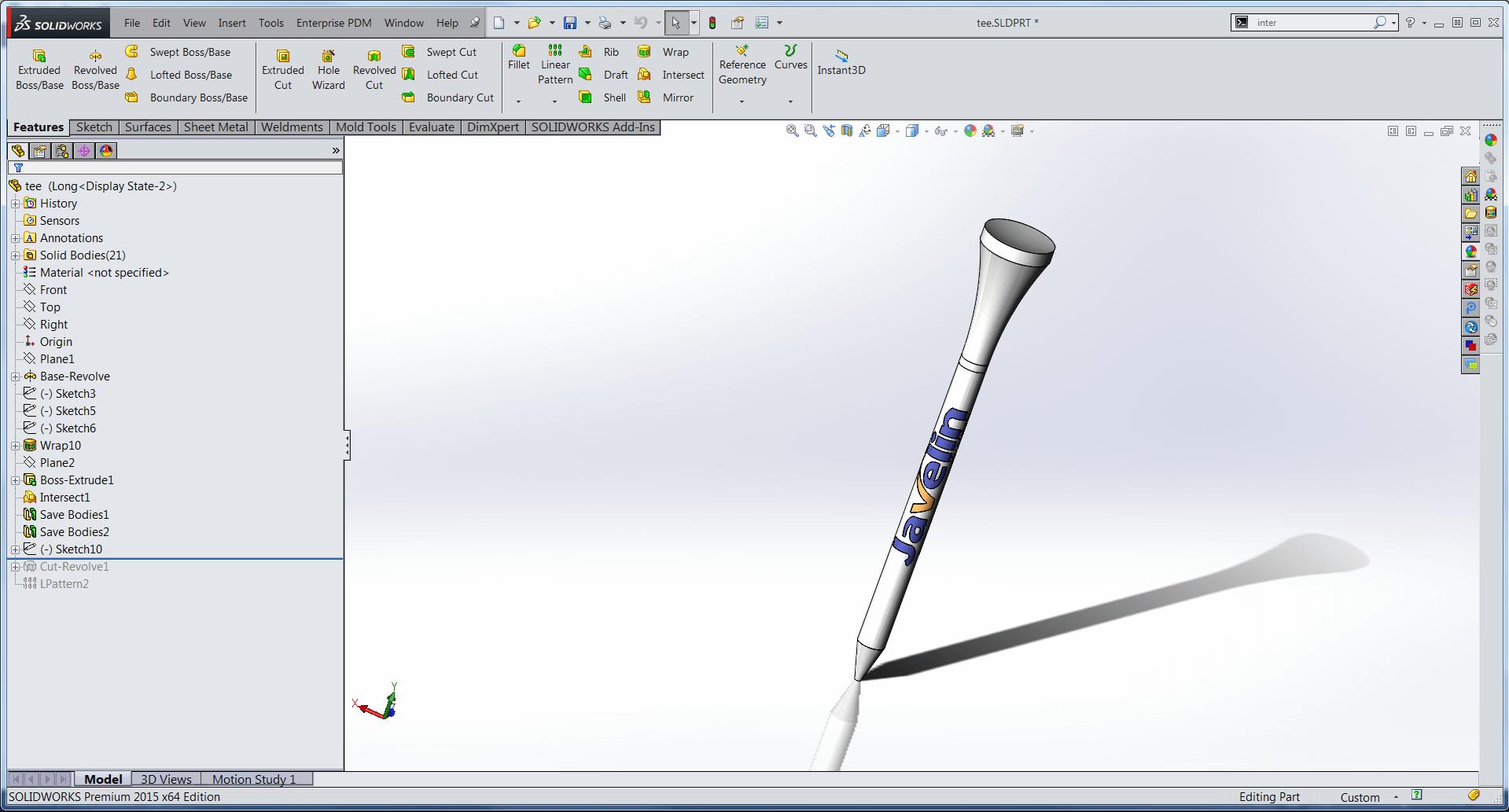 Design 3d print golf tees 3d design