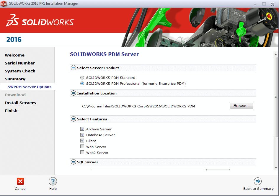 PDM Pro server options