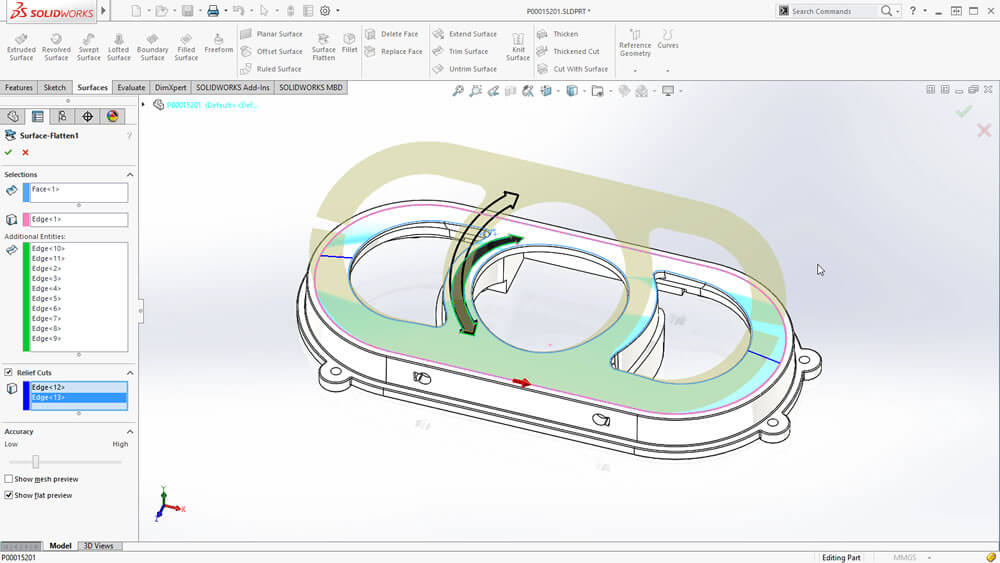 SOLIDWORKS 2016 Flatten Surface Tool