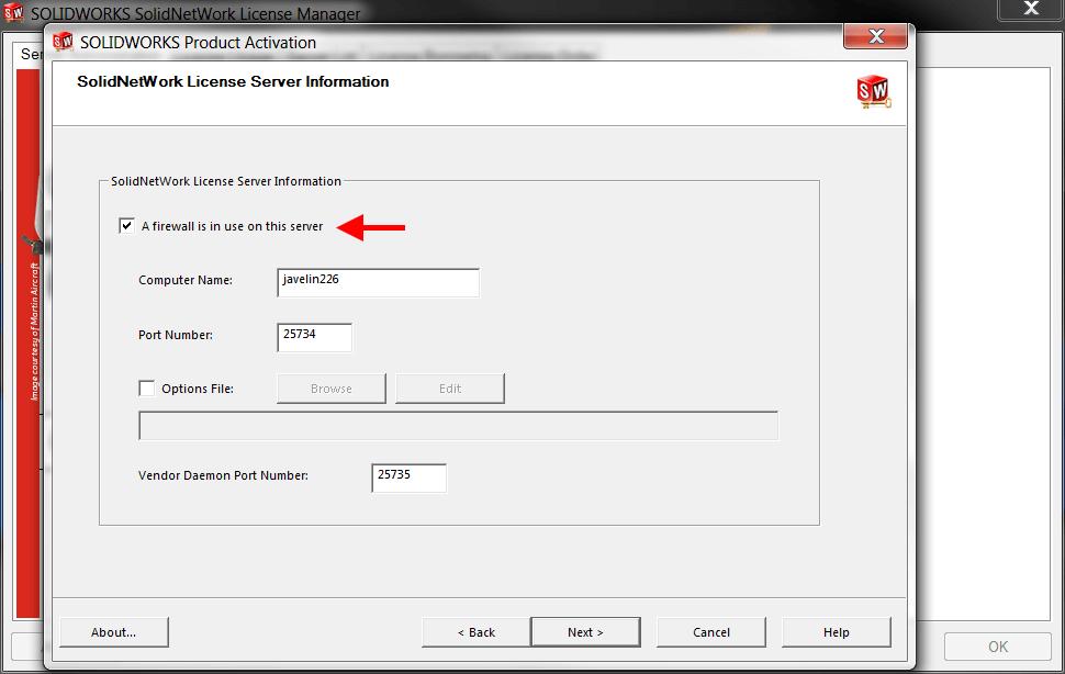 SolidNetWork License Manager Communication Port