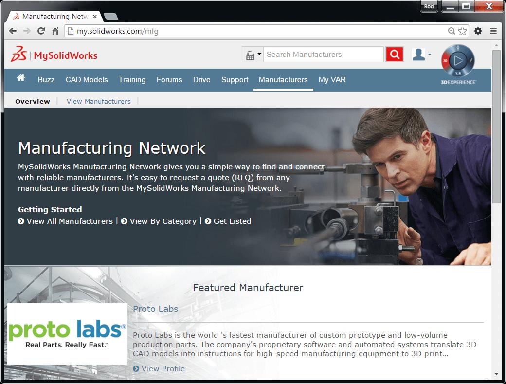 MySolidWorks Manufacturing Network