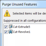 Be extremely careful when using the new SOLIDWORKS PURGE command