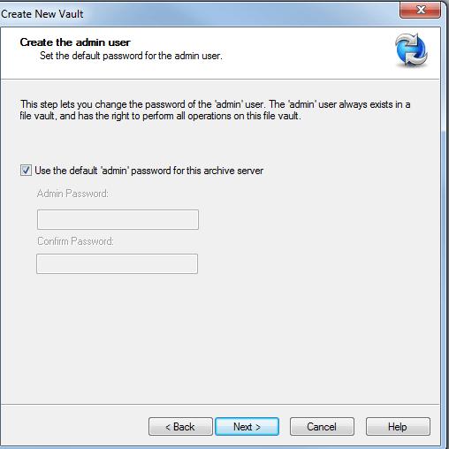 vault admin password