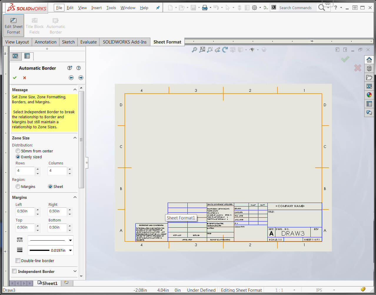 Solidworks automatic drawing border makes annotation easier for Blueprint sizes