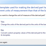 SOLIDWORKS Derived Part Template Units