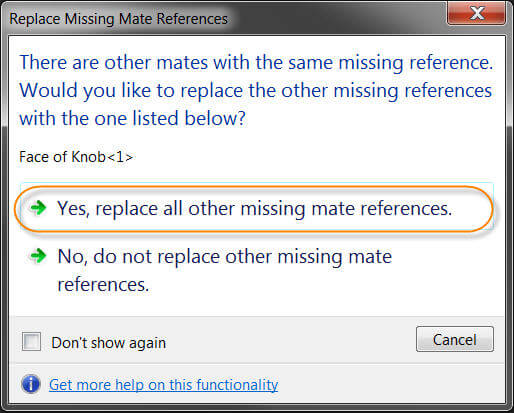 Globally Replace Failed Mate References