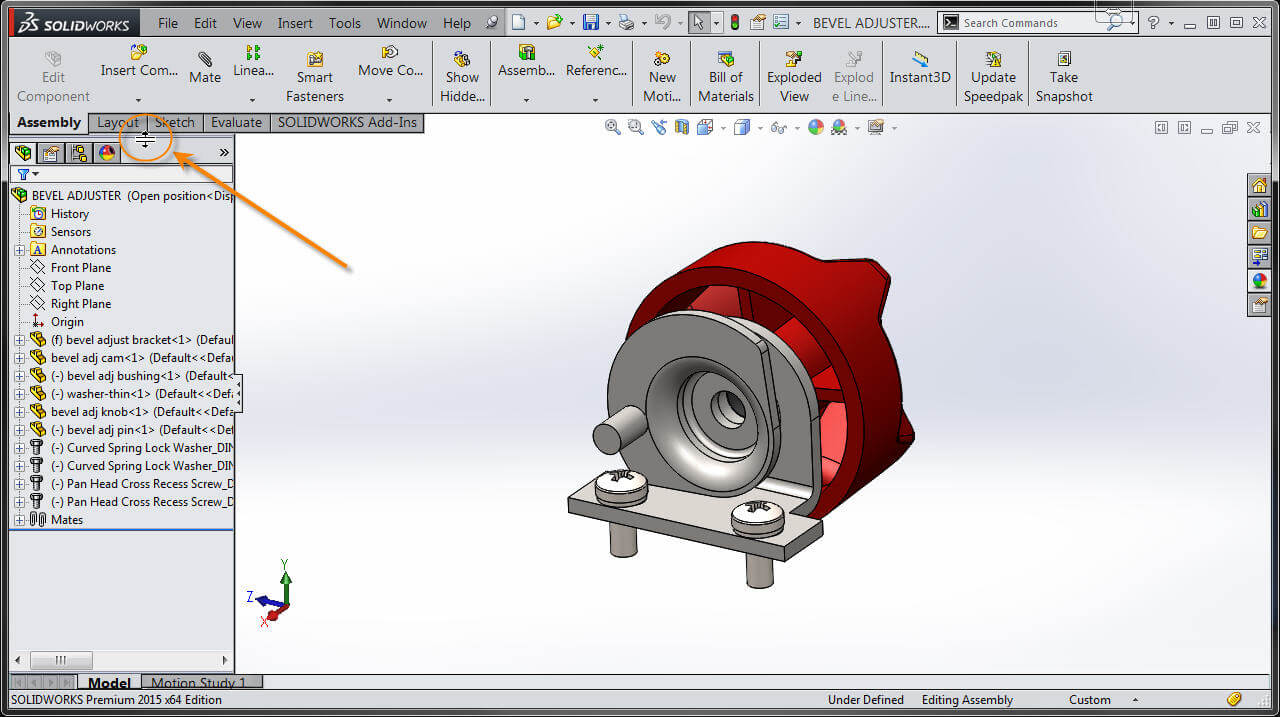 Previous versions of SOLIDWORKS have a very narrow splitter bar at the top of the FeatureManager
