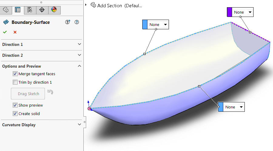 Converting Surface into Solid with SOLIDWORKS Boundary