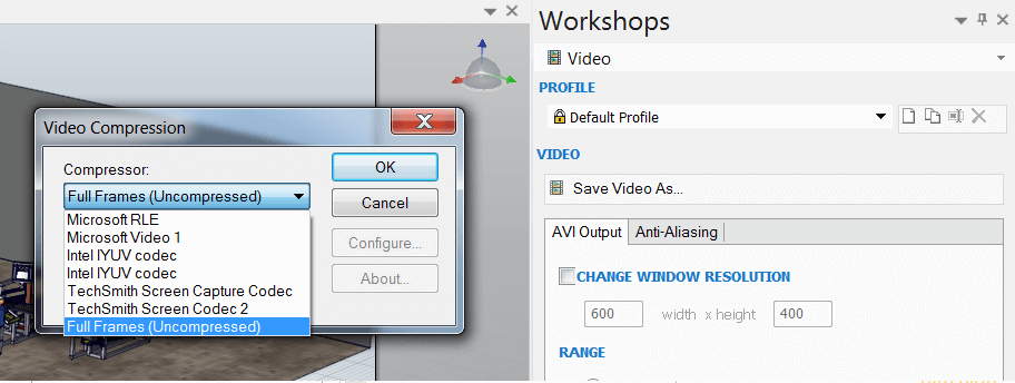 SOLIDWORKS Composer Video Compression Options