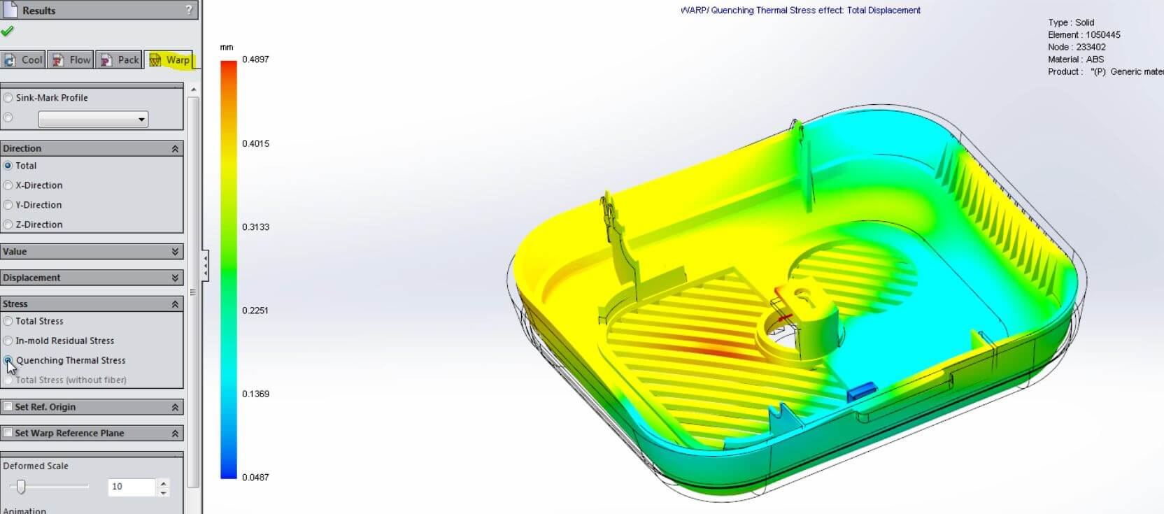 Injection Molding Warpage with SOLIDWORKS Plastics