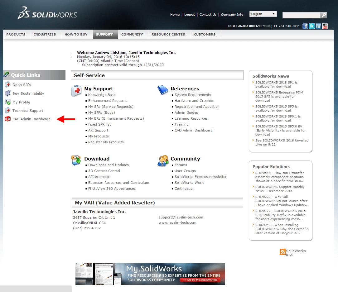 Customer Portal CAD Admin Dashboard