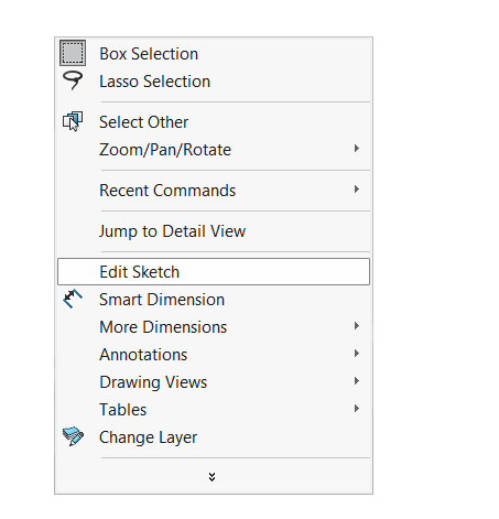 Edit Sketch from shortcut menu